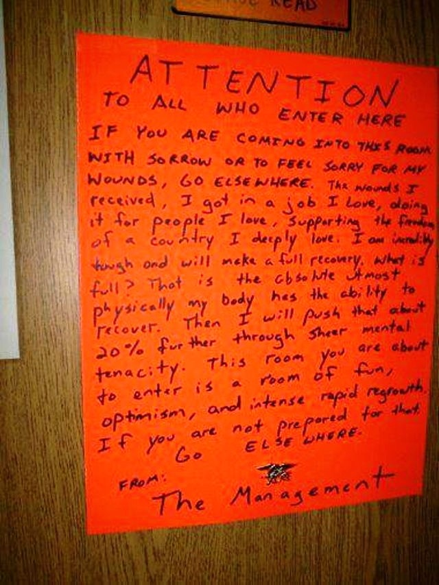 Wounded Navy SEAL veteran Jason Redman's famous sign on the door poster