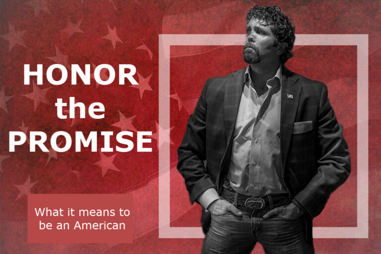 """Jason Redman with American flag background, """"Honor the Promise"""""""